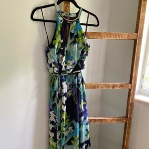 Vince Camuto maxi dress in blue floral print.